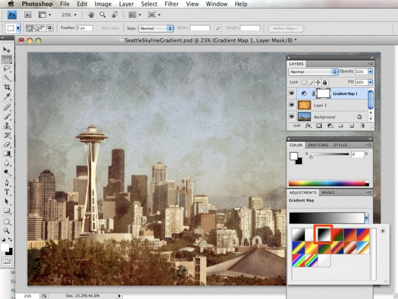 Seattle Skyline Photoshop CS4 Texture Tutorial via Shutter Tours