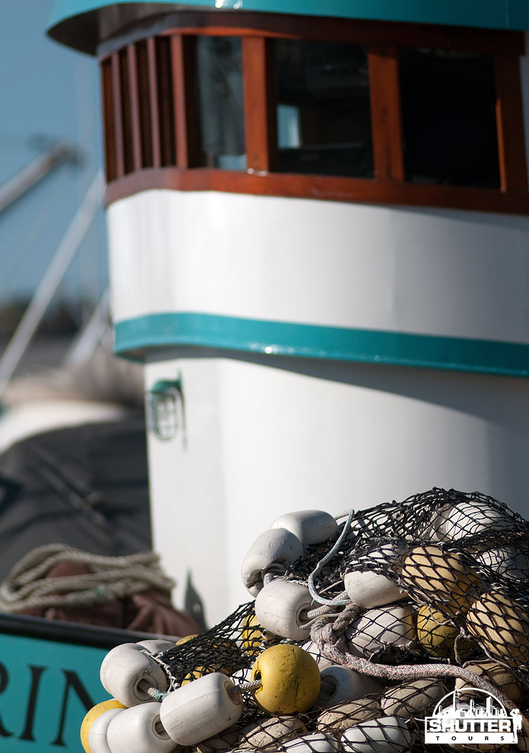 Boat and nets at Seattle's Fishermen's Terminal