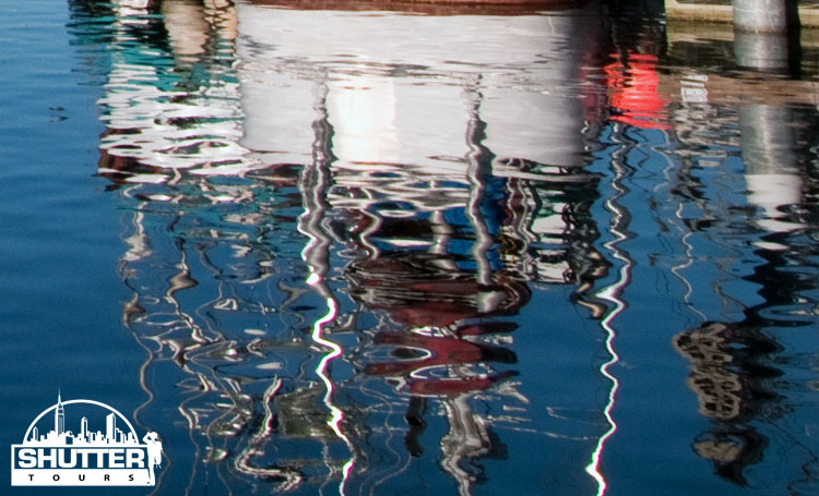 water reflection at Seattle's Fishermen's Terminal