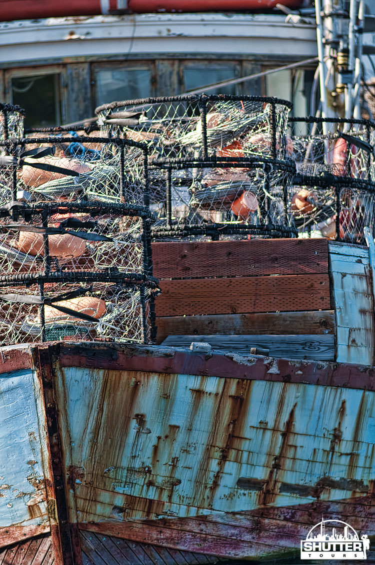crab pots on old boat at Seattle's Fishermen's Terminal