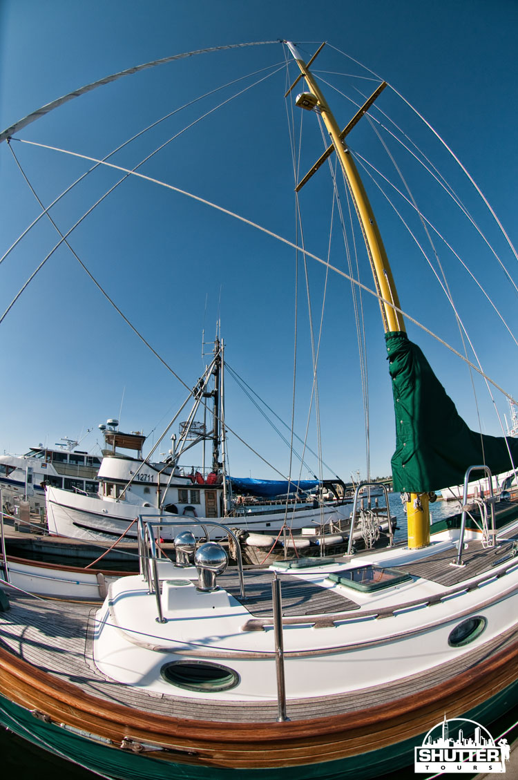 weird perspective with Nikon 10.5mm lens of sailboat at Seattle's Fishermen's Terminal
