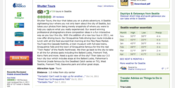 Trip Advisor Seattle Tour Rating