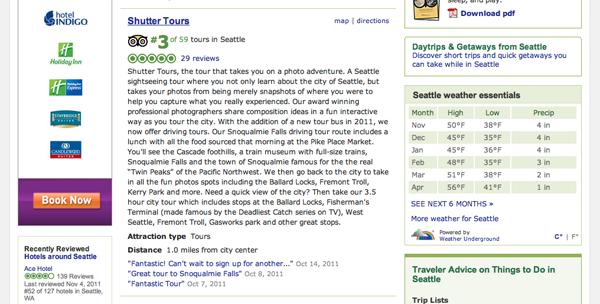 Trip Advisor Seattle Tour Rating