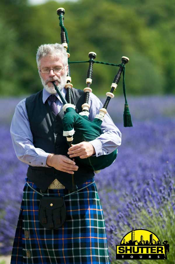 Bagpiper in Lavender Field at Jardin du Soleil in Sequim, WA