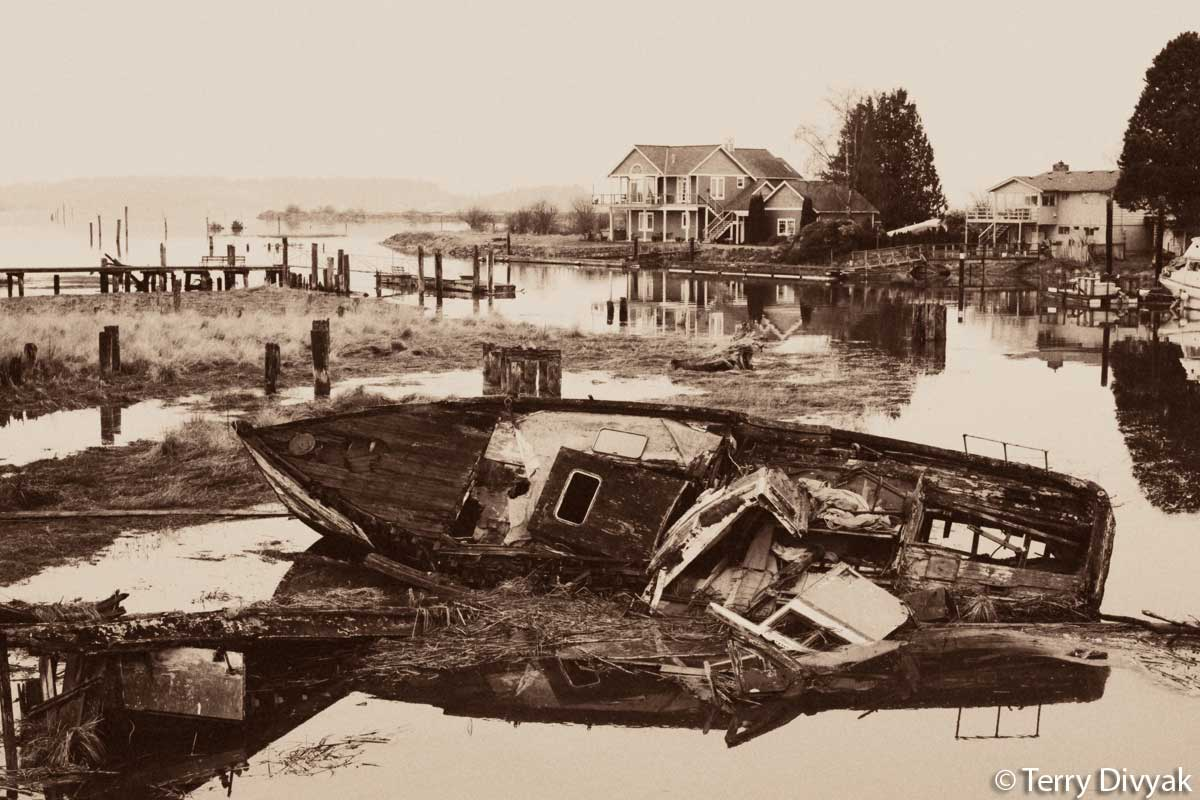 Old Wooden boat in Edison, Washington