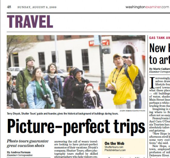 Washington Examiner article on Shutter Tours